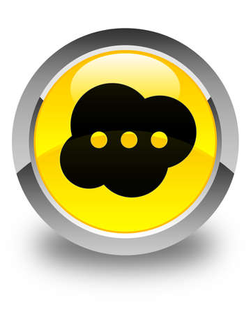 instant message: Brain icon glossy yellow round button