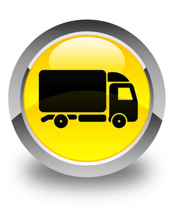 yellow tractors: Truck icon glossy yellow round button