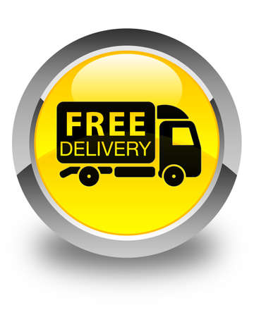 yellow tractors: Free delivery truck icon glossy yellow round button