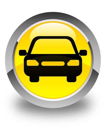 fare: Car icon glossy yellow round button