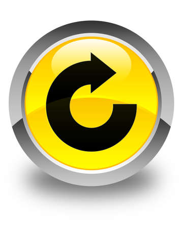 Reply arrow icon glossy yellow round button Stock Photo