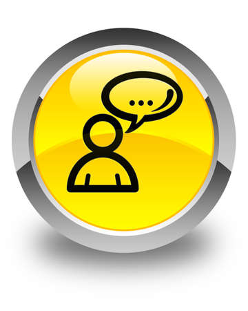 family discussion: Social network icon glossy yellow round button Stock Photo