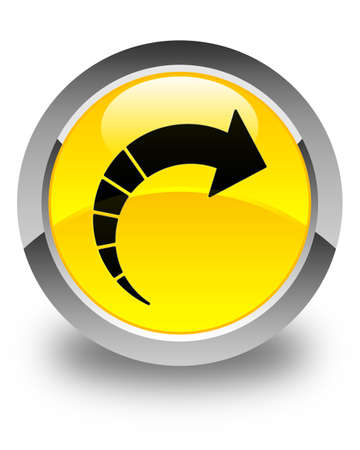 move ahead: Next arrow icon glossy yellow round button Stock Photo