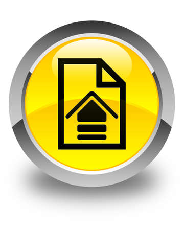 upload: Upload document icon glossy yellow round button Stock Photo