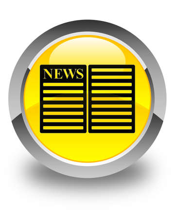 current events: Newspaper icon glossy yellow round button