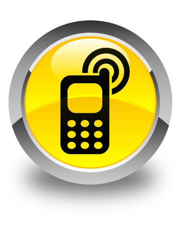 ringing: Cellphone ringing icon glossy yellow round button Stock Photo