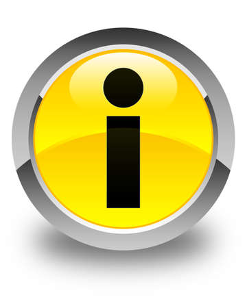 inquiry: Info icon glossy yellow round button Stock Photo
