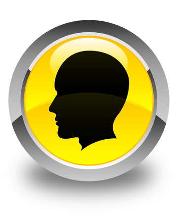 man side view: Head (male face) icon glossy yellow round button Stock Photo