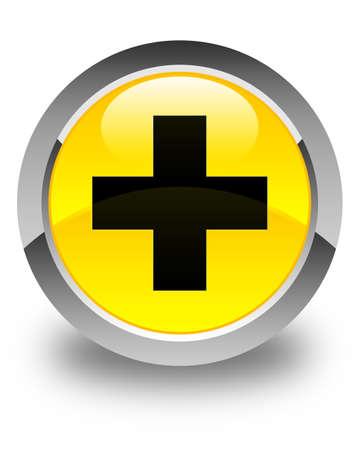 Plus icon glossy yellow round button