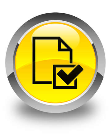 positive note: Checklist icon glossy yellow round button
