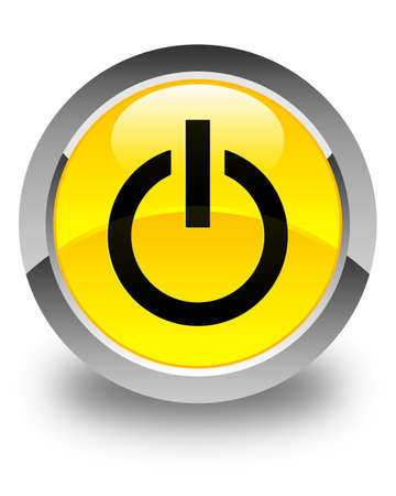 turn yellow: Power icon glossy yellow round button