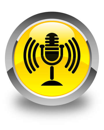 talk show: Mic icon glossy yellow round button