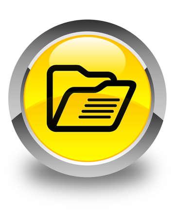 web directories: Folder icon glossy yellow round button Stock Photo