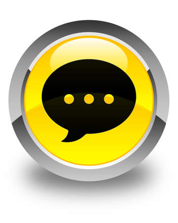 instant message: Conversation icon glossy yellow round button