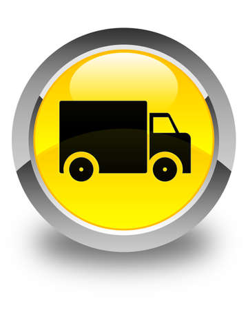 yellow tractors: Delivery truck icon glossy yellow round button