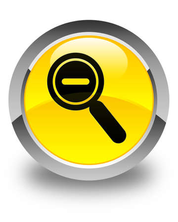 zoom out: Zoom out icon glossy yellow round button