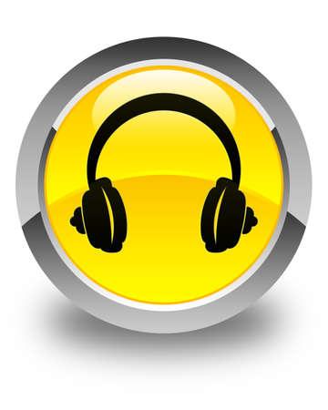 head phone: Headphone icon glossy yellow round button