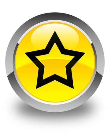 black button: Star icon glossy yellow round button