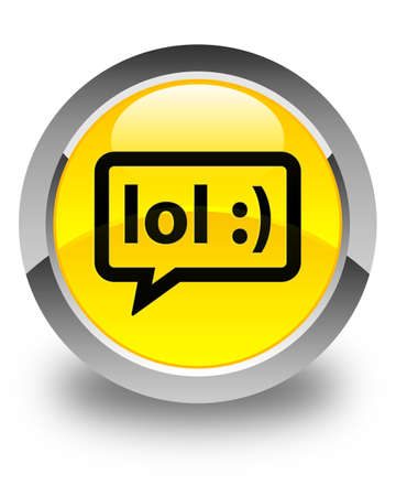 speak out: LOL bubble icon glossy yellow round button