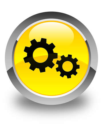 preference: Process icon glossy yellow round button