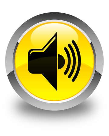 tunes: Volume icon glossy yellow round button Stock Photo