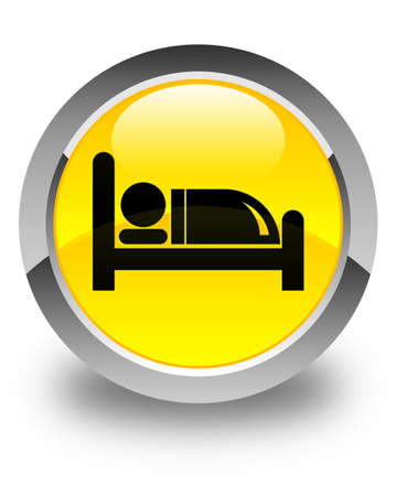 hotel bed: Hotel bed icon glossy yellow round button