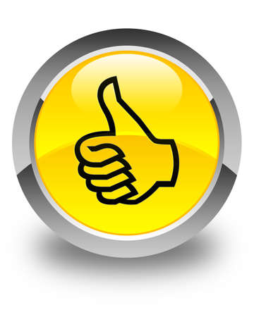 good deal: Like icon glossy yellow round button Stock Photo