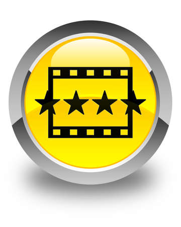 reviews: Movie reviews icon glossy yellow round button