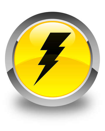 3d lightning: Electricity icon glossy yellow round button