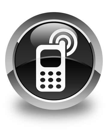 ringing: Cellphone ringing icon glossy black round button Stock Photo