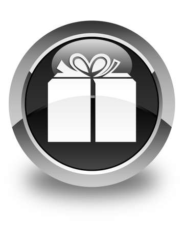 glassy: Gift box icon glossy black round button Stock Photo