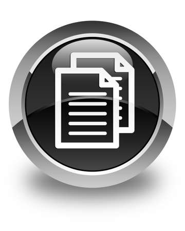 term and conditions: Documents icon glossy black round button Stock Photo