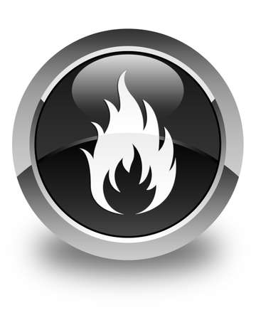 wildfire: Fire icon glossy black round button Stock Photo