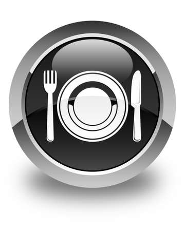 food plate: Food plate icon glossy black round button