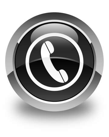phone button: Phone icon glossy black round button Stock Photo