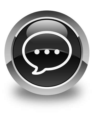 speech icon: Talk bubble icon glossy black round button