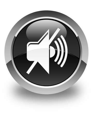 mute: Mute volume icon glossy black round button Stock Photo