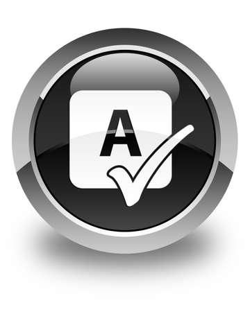 shiny black: Spell check icon glossy black round button Stock Photo