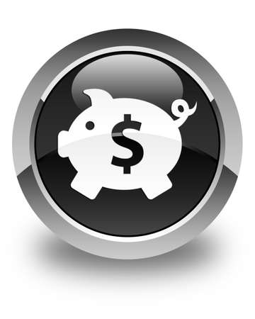 dollar icon: Piggy bank (dollar sign) icon glossy black round button