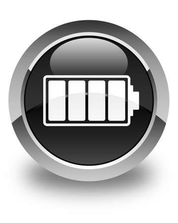 button batteries: Battery icon glossy black round button Stock Photo