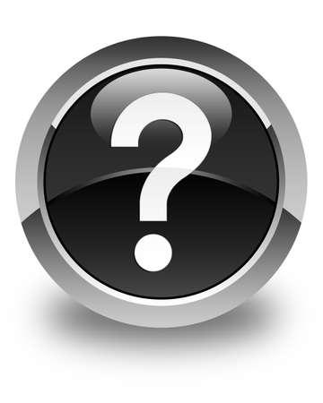 black button: Question mark icon glossy black round button Stock Photo