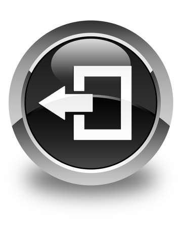 log off: Logout icon glossy black round button