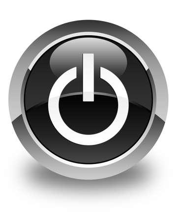 shut off: Power icon glossy black round button
