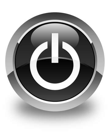 Power icon glossy black round button