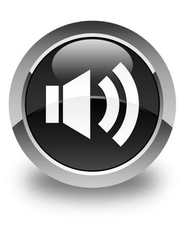 Volume icon glossy black round button
