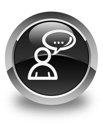 family discussion: Social network icon glossy black round button