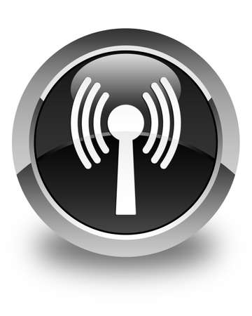 wlan: Wlan network icon glossy black round button
