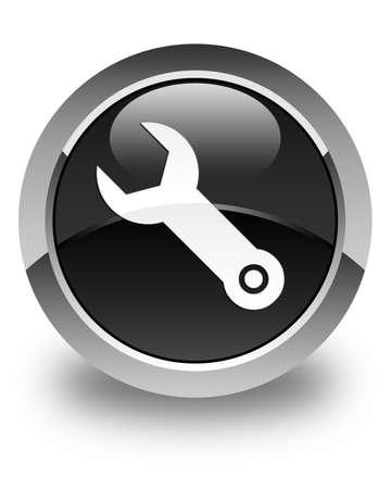 modificar: Llave inglesa icono de botón redondo de color negro brillante