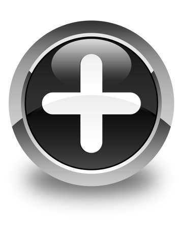 joining services: Plus icon glossy black round button Stock Photo