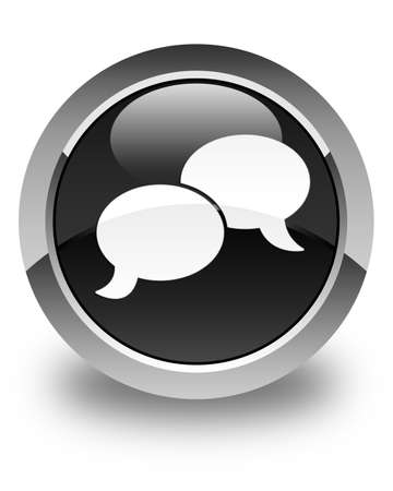 chat bubble icon: Chat bubble icon glossy black round button Stock Photo